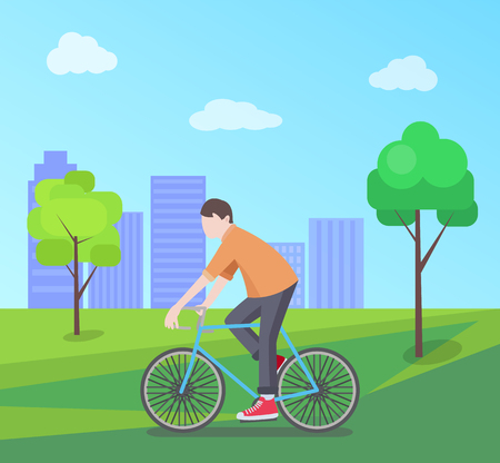 Man Riding Bike on Nature, Vector Illustration Çizim