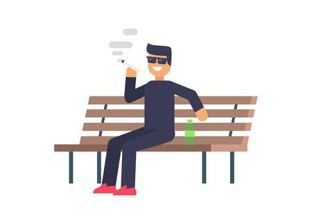 Cheerful smoking man colorful vector illustration, bad habit, banner isolated on white backdrop man sitting on bench with bottle and smoking cigarette Illustration