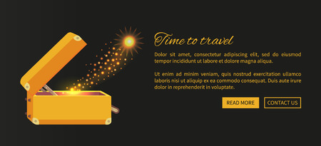 Time to travel web poster with open suitcase and magical mirror from it vector illustration on black background. Luggage with golden sparkle Illusztráció