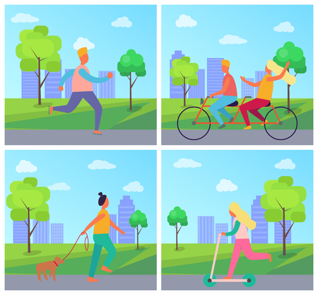 Set of four posters with people in city park. Vector illustration contains man on roller skates, couple riding bicycle, woman with dog and girl on kick scooter