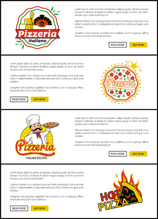 Pizzeria Italian recipes set, web pages for sites with buttons and logos of pizzeria, hot pizza and emblems, vector illustration isolated on white Illustration
