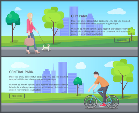 Central city park color banner, vector illustration with woman in pink jacket and heeled shoes, walking with with pet, cyclist and text, push buttons Illustration