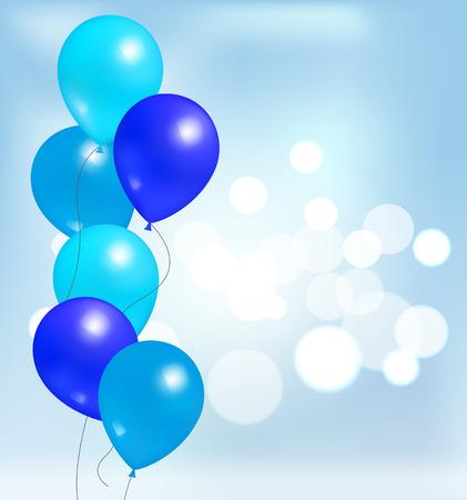 パーティーの装飾のための光沢のある光沢のある風船、誕生日や記念日、青いゴム風船インフレータブルヘリウム飛行要素は、ぼやけた背景に 写真素材 - 96707713