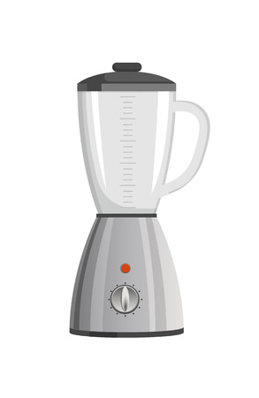 Modern powerful blender with speed regulation and capacious vessel with black top. Electric appliance to blend food isolated vector illustration.