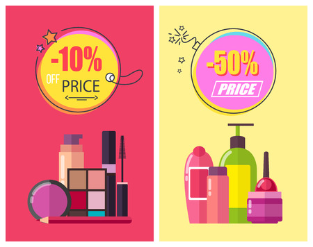 -50 off price, poster set with circles and headlines, shampoo and eyeshadows, pencil and mascara, shampoo and gels, isolated on vector illustration