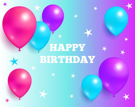 Happy birthday background glossy balloons with stars on purple and blue backdrop, flying air balloon greeting card design for birthday party greetings
