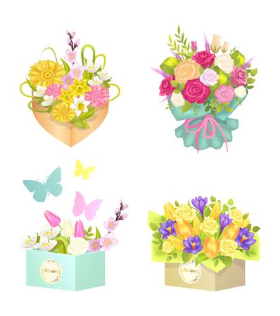 Bouquets and Flowers Set, Vector Illustration Çizim