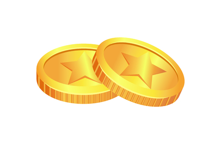 Coins Made of Gold Material Vector Illustration