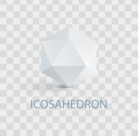 Icosahedron Isolated White Three-Dimensional Shape