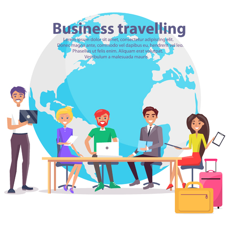 Business Travelling and Globe concept Vector Illustration