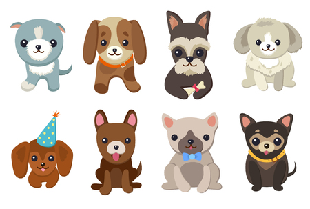 Dogs and Puppies Set Vector Illustration Archivio Fotografico - 97114982