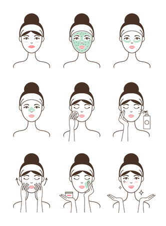 Skin Care Procedure All Stages on Female Model Vectores