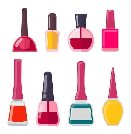 Set of Different Nail Polish Vector Illustration Ilustrace