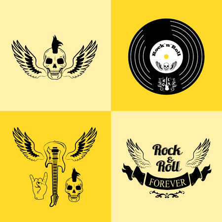 Rock n roll forever, icons of skull with punk hairstyle, vinyl, guitar with wings, ribbon and gesture horns vector illustration isolated.