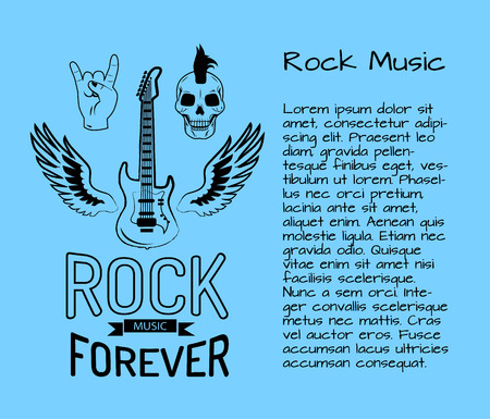 Rock music forever poster with electric guitar surrounded by wings, skull and sign of horns. Illustration