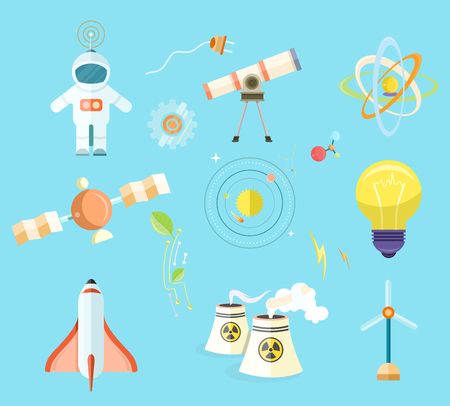 Science Themed Isolated Cartoon Illustrations Set