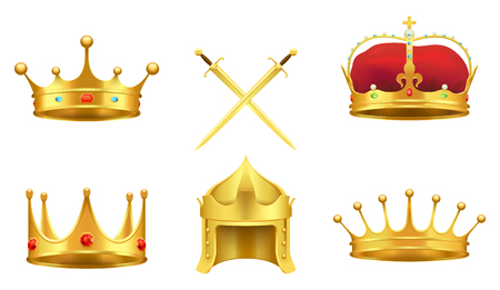 Golden medieval symbols 3d icons set. Gold crowns with gems, knight helmet, crossed shiny swords realistic vector illustrations isolated on white background Illustration