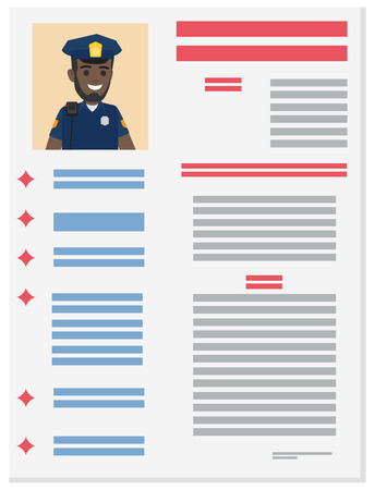 Policeman Career Information Leaflet Flat Vector Stock Illustratie