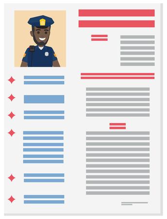 Policeman Career Information Leaflet Flat Vector Illustration