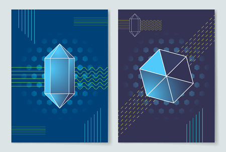 Geometric Shapes Posters Set Vector Illustration 일러스트