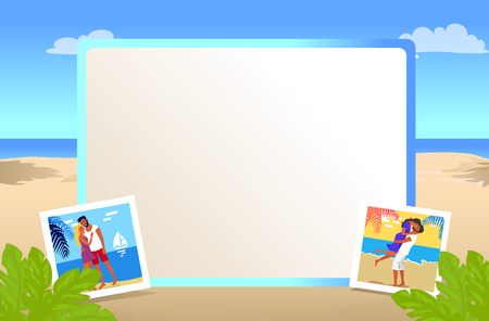 Square Photo Frame with Beautiful Sandy Beach Иллюстрация