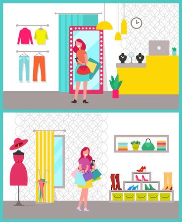 Women Shopping Posters Set Vector Illustration Illustration