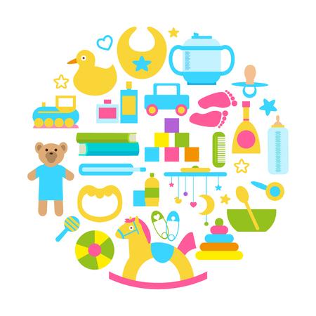 Toys for Kids circular banner set Standard-Bild - 96864821