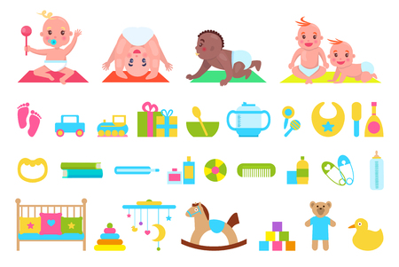Niños juguetones y juguetes conjunto ilustración vectorial Foto de archivo - 96796828