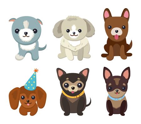 I cani ed i cuccioli hanno messo l'illustrazione di vettore del manifesto Archivio Fotografico - 96796827