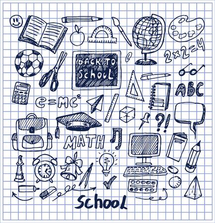 Set of School Stuff Hand Drawn Vector Illustration