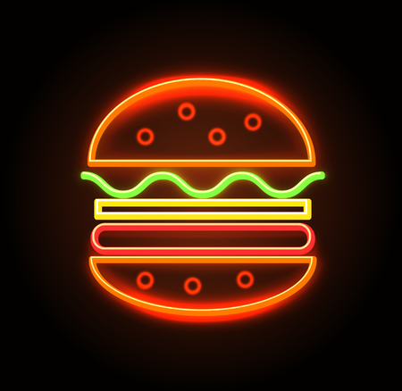 Cheeseburger Neon Sign Poster Vector Illustration
