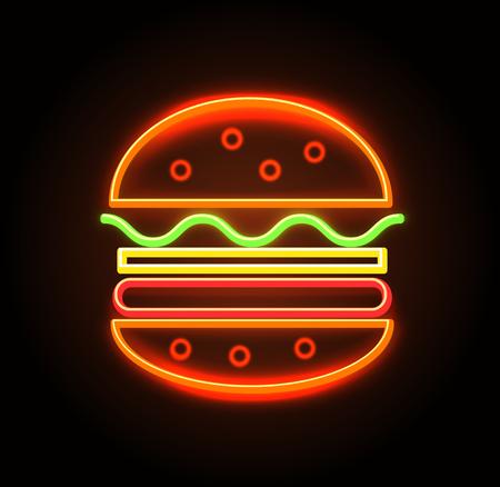 Illustrazione di vettore del manifesto dell'insegna al neon del cheeseburger