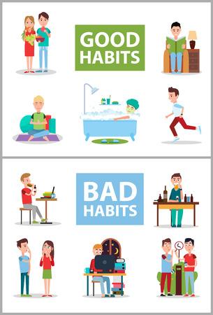 Cartel de buenos y malos hábitos conjunto ilustración vectorial