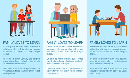 Three Family Loves to Learn and Sports Posters Illustration