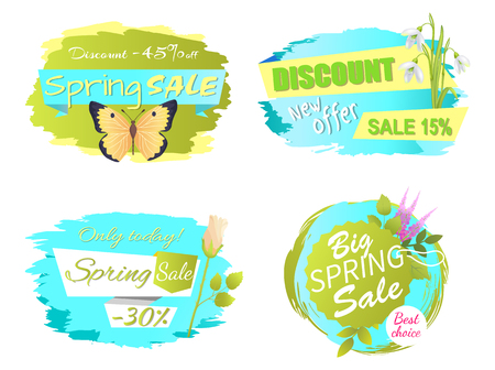 Only Today Spring Sale Labels with Lilac Flowers