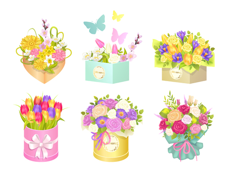 Boxes Bouquets and Butterflies Vector Illustration set Vettoriali