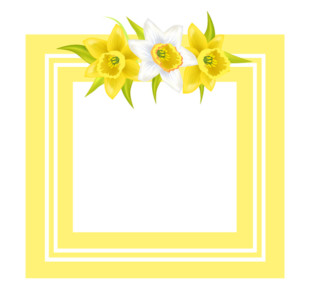 Decorative Frame for Photo or Text Spring Flowers