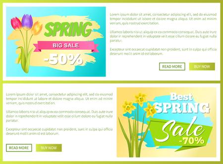 Discount vouchers for Spring sale vector illustration set