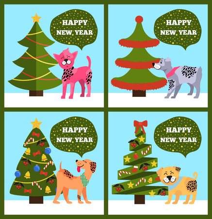 Happy New Year Banners with Dotted Puppy Tree Set