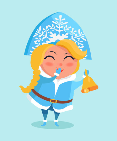 Snow Maiden in Cute Warm Winter Cloth Covers Mouth