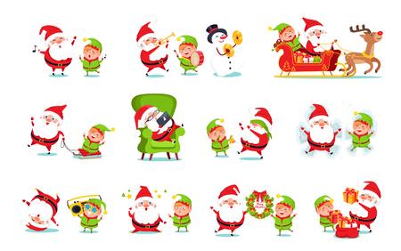 Santa Claus Helper Activities Vector Illustration