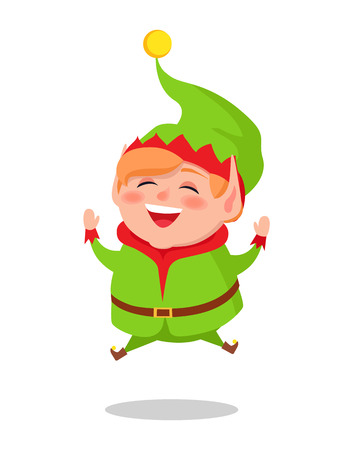 Happy Elf Jumping High Vector Illustration. Vectores
