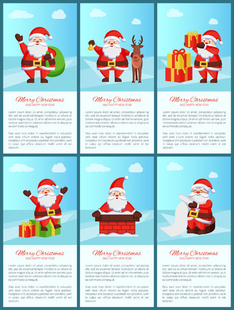 Merry Xmas and Happy New Year poster Santa Claus and presents, deer animal, chimney pipe, wish list scroll, daily activities of winter character Vektoros illusztráció