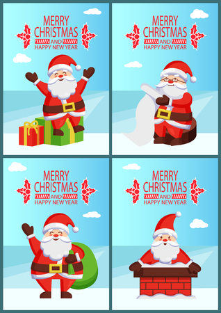 Merry Christmas happy New Year Santa bright banner on light background. Vector illustration with Saint Nicholas on snowy roof with colorful presents