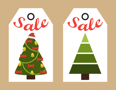 Sale New Year stickers set with images of symbolic tree decorated with garlands, bows and bells, hat of Santa Claus on top on vector illustration