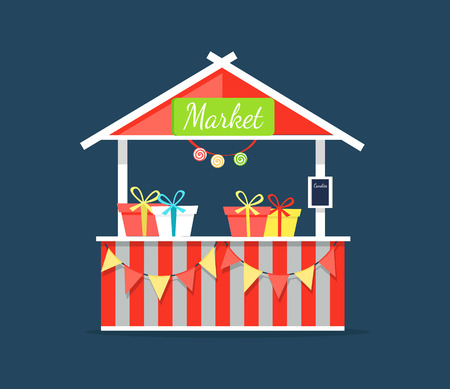 Market counter with candies in boxes vector illustration outdoor shop with triangle roof isolated on dark blue background. Striped tent with presents Illustration
