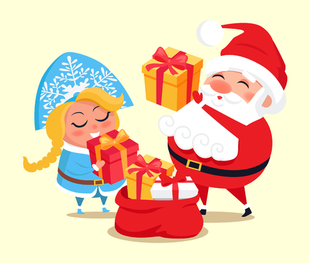 Snow Maiden and Santa Claus with gifts, packing red bag with presents to deliver them to children during wintertime holiday vector illustration Ilustração