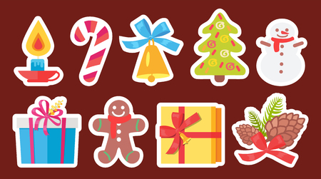 Set of light Christmas symbols isolated on brown background. Vector illustration with decorated spruce, burning candle and baked cookie in shape of person Standard-Bild - 97143117