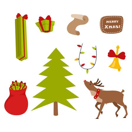 Set of Nice Christmas Icons on White Background. Illustration