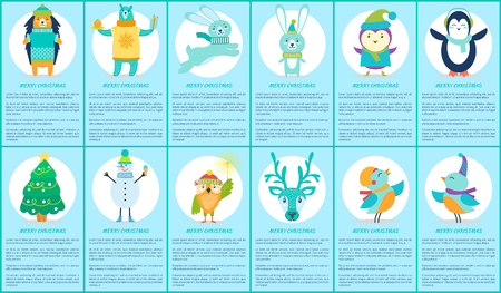 Merry Christmas, set of placard of blue color, composition of letterings and images of animals and tree, snowman and birds on vector illustration